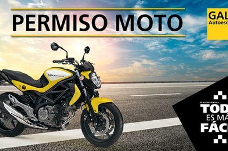 Curso para carnet de moto A1 o A2 con 3 o 4 clases prácticas en Autoescuela Gala (con64% de descuento)