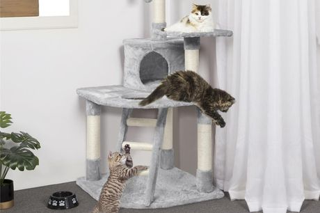 £49 instead of £89.99 for a grey multi-level plush cat tower and scratching post from Yahee Store – save 46%