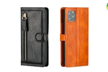Stilfuldt mobilcover i læder med masser af plads til kort og kontanter - Fås i 6 farver