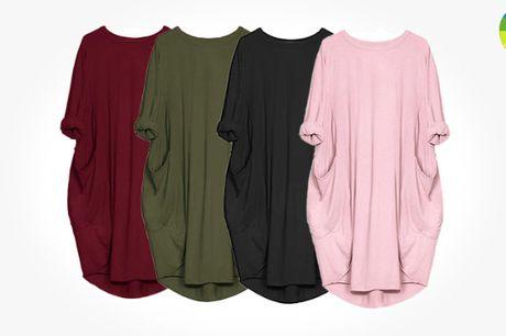 Afslappet og komfortabel t-shirt kjole med lommer