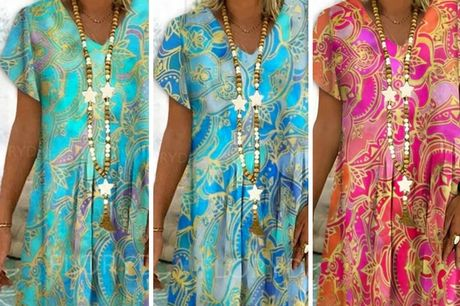 £11.98 for a women's V-neck printed summer dress in Red, Blue or Light Blue in UK sizes 10-18 from Pinkpree