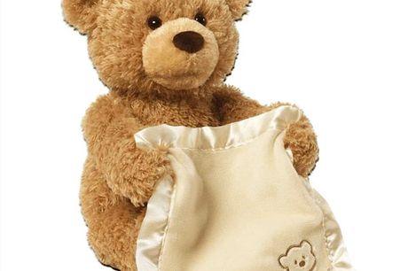 Peek-A-Boo Bamse  Den indeholder 2 sjove og lærerige funktioner for dit barn.  Bamsen bruger 3xAA batterier (Medfølger ikke)