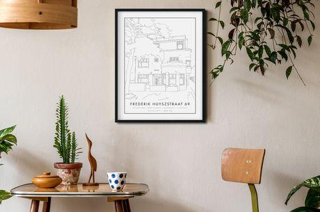 Een persoonlijk huisportret Cadeautip voor een ander óf jezelf!<br /> Unieke lijntekening en op maat gemaakt<br /> Afmetingen: 50x70 cm
