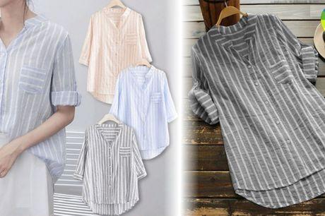 Klassisk og elegant sommerskjorte i løst design md v-hals