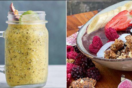 Skøn deal på nem, sund og lækker cafemad i Kbh K - 1 x valgfri salat eller sandwich inkl. 1 x øko smoothie ELLER 2 x valgfri AÇAI-bowls. Værdi op til kr. 158,-
