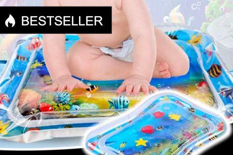 Vand-legemadras til børn. Stimulerer og styrker motorik - og så er det en sjov måde, at være sammen med sit barn på   Lad dit barn opleve en verden af spændende fisk derhjemme.    - Tager kun et øjeblik at komme i gang - fyld madrassen med vand og kante