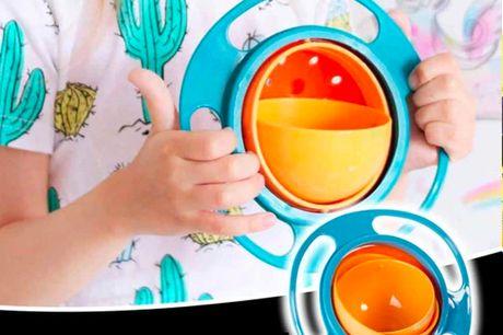 Spildfri Spiseskål til børn (Gyro bowl)   Med denne smarte og unikke Gyro skål får du en spildfri spiseskål, som gør det sjovt for børnene at spise, og samtidig slipper du for at de spilder ud over det hele    - Skålen roterer 360 grader som et gyroskop
