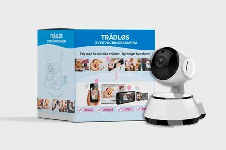 Smart trådløs overvågningskamera. Kameraet tilsluttes WiFi og styres via en app Kan fx sættes op derhjemme mod ubudne gæster, på børneværelset osv. Kameraet optager i HD og er let at komme i gang med  - Optager i 720P HD vidvinkel - Gem optagelser direkte