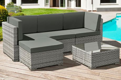 £519 for a four-seater Trinidad polyrattan garden furniture set in a ocean grey or dove grey from Oseasons®