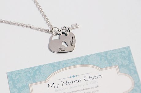 £8.99 for a silver tone lock & key love heart pendant necklace with your own personalised name engravings from My Name Chain