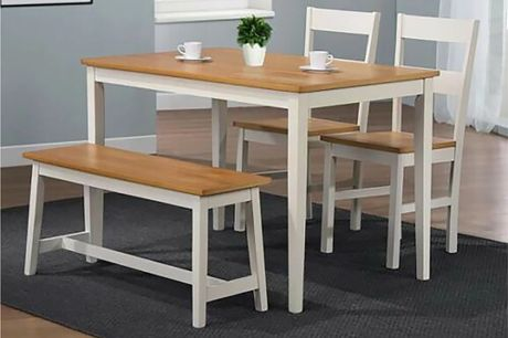 £159 instead of £299.99 for a solid white wooden dining furniture set from Bedsstar – save 47%