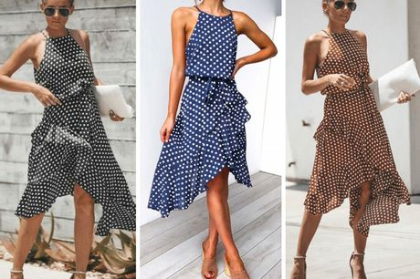 £12.99 for a polka dot off-shoulder casual dress from Pinkpree