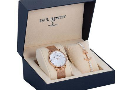 Paul Hewitt Perfect Match Gavesæt Sunray bestående af både ur og armbånd. Den perfekte gaveidé!  Paul Hewitt's klassiske og elegante Rose Sunray ur. Uret kan nemt tilpasses dit håndled med den smarte mesh-rem. Paul Hewitt An