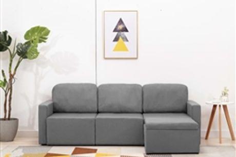 Sofá-cama modular de 3 lugares tecido cinzento-claro por 751.74€ PORTES INCLUÍDOS