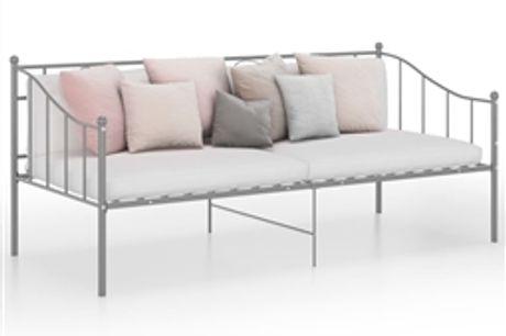 Sofá-cama 90x200 cm metal cinzento por 188.76€ PORTES INCLUÍDOS