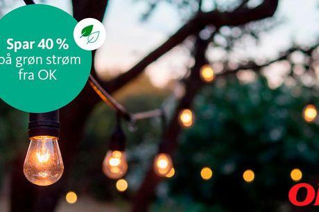 Spar på grøn strøm og få et gavekort Lige nu sparer du 40 % på elprisen på Grøn OK El Fast – og du får et gavekort til Sweetdeal på 300,- med i købet. Du får også oprettelse til 0 kr., smart online forbrugsvisning, mulighed for at støtte lokalsporten og m