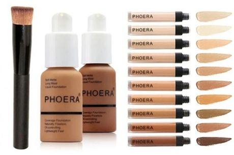 Phoera basis make-up set van foundation, concealer en borstel
