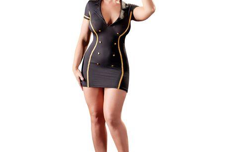Cottelli Stewardesse Uniform. Denne betagende stewardesse uniform fra Cottelli er perfekt til aftenen, hvor du ønsker at servicere din partner med lidt ekstra stil og sexappeal. Lad os bare være ærlige - hvilken profession er frækkere end stewardessens? S