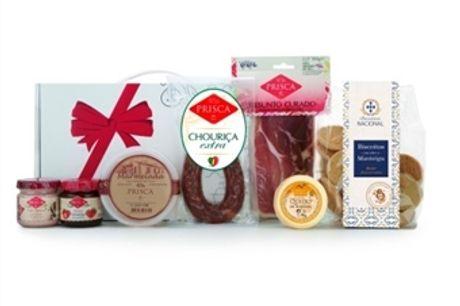 CABAZ ÍCARO da Casa da Prisca: Caixa Branca Laço Vermelho composta por 7 Deliciosos Produtos por 22€. PORTES INCLUÍDOS.