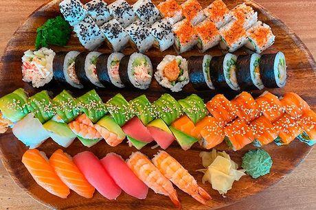 38 eller 56 stk. sushi Du får sushi af høj kvalitet lavet af uddannede sushikokke, der alle har en stor passion og kærlighed for god sushi lavet af de bedste råvarer.