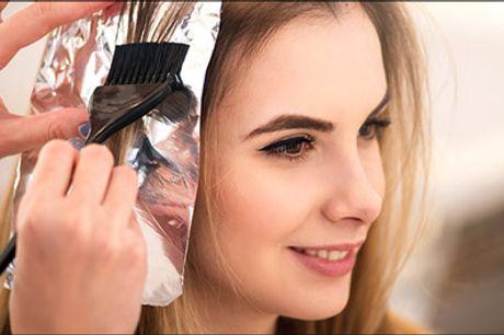Dit hår vil elske denne deal - Nu kan få en dameklip med hårkur eller olaplex og evt. striber eller helfarve. Til alle hårlængder. Værdi op til 1500,-