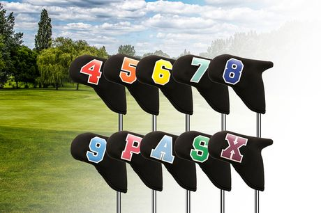£19.99 instead of £39.99 for a 10-piece set of golf iron head covers from Domo Secret – save 50%