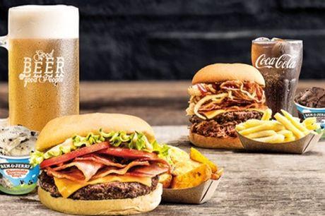 Menú para 2 personas con hamburguesa o ensalada, aperitivo, bebida ilimitada y helado en TGB Serrano Jover
