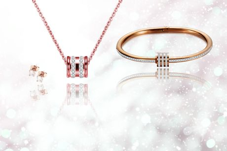 £16 instead of £39.99 for a three-piece Lola rose gold stud earring, necklace and bracelet set made using crystals from Swarovski ® from Phoenix - save 60%