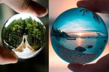 Glaskugle til Fotografering.  Med denneglaskugle,kantage fantastiske billeder med din smartphone, tablet eller kamera.