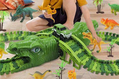 Dinosaurus racebaan Inclusief dinosaurus figuren<br /> Eenvoudig in en uit elkaar te halen<br /> Geleverd met handige opbergzak