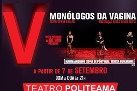 """Teatro POLITEAMA: Espectáculo """"MONÓLOGOS da VAGINA"""" em Lisboa. Lugar na Plateia por 20€. Venha divertir-se com esta comédia imperdível."""