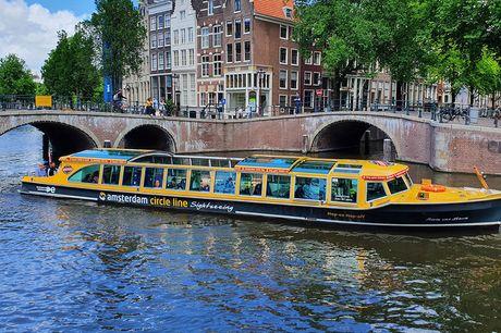 Leuke rondvaart door Amsterdam Geniet van de mooie stad Amsterdam tijdens een 75 minuut durende rondvaart. Ontdek de Magere Brug van de Amsterdamse eilanden, kijk uit over het IJ en zie de beroemde hoogtepunten van Amsterdam!