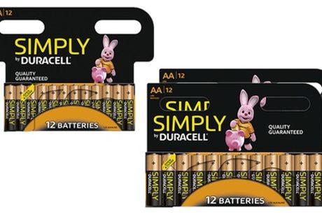 Set van 12, 24 of 36 Duracell AA- of AAA-batterijen, inclusief verzending