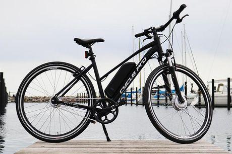 Moderne elcykel i dame- eller herremodel Du kan vælge mellem to forskellige modeller. Den ene model, der hedder Corwin CyclePRO CROSS kommer både i en herre - og dame model. Denne kommer med 7 indvendige shimano gear, fjeder forgaffel, kraftig støttefod o