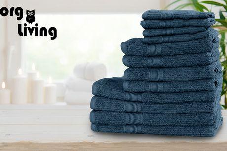 12 håndklæder i forskellige størrelser. Vælg mellem fire flotte farver, der passer til det nordiske hjem – Gratis fragt!