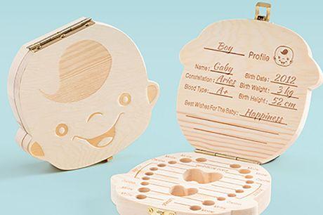 Houten tandendoosje Iedereen wil toch graag de melktandjes bewaren voor later? Dit schattige tandendoosje is perfect om deze herinnering zo goed mogelijk te bewaren!
