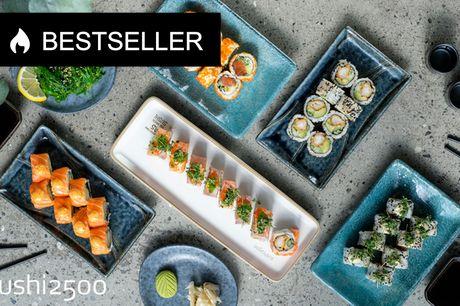 Sushi2500 er tilbage - sushi i verdensklasse. Favorit-menu til to: 40 stk. og tangsalat, der sender dine smagsløg i himlen!