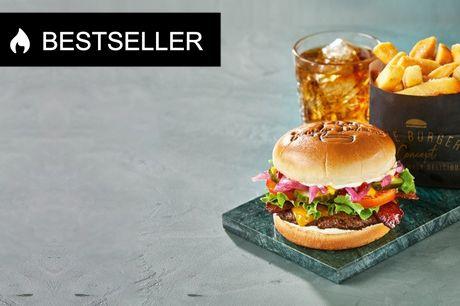 The Burger Concept i udvalgte byer. Nyd en smagfuld Single Iconic Burger-menu, der er en klassiker på menukortet hos The Burger Concept. Kan indløses i Hjørring, Aalborg, Viborg, Holstebro, Horsens, Sønderborg, Viby, Odense, Kolding og Valby.