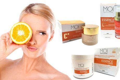 Crema, concentrado y mascarilla facial con vitamina C