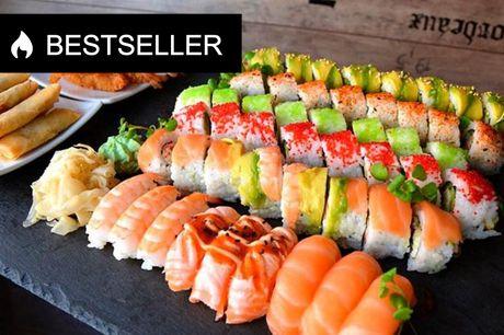 Ud-af-huset: 36 eller 49 stykker sushi Sushimenu med 36 stykker: 199,- - Sushimenu med 49 stykker: 249,-