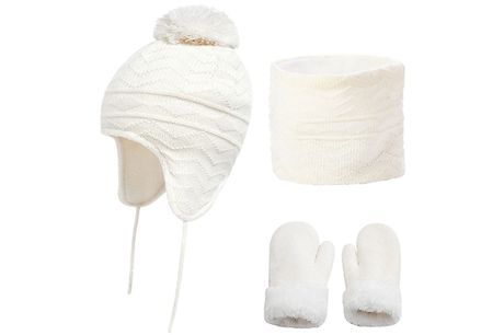 Kids Knitted Plush-Lined Hat, Gloves & Scarf Set - 6 Colours & 2 Sizes     Available in small or large sizes - see Full Details for size guide     This knitted set will keep your little ones warm when they head out in the winter cold     Hat features a