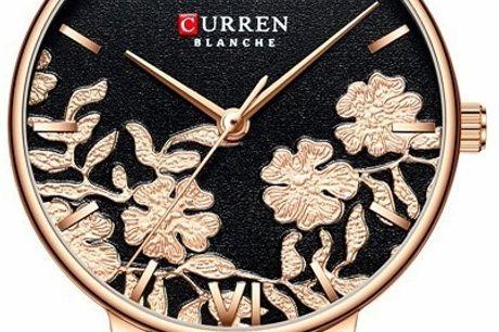 Curren Ladies Leather Black/Flower. Curren Watches er et brand, der har fokus på høj kvalitet til en overkommelig pris. Curren har en vision om, at levere ure i moderne, unikt og trendy design. Deres designere følger hele tiden trende i Europa og opdatere