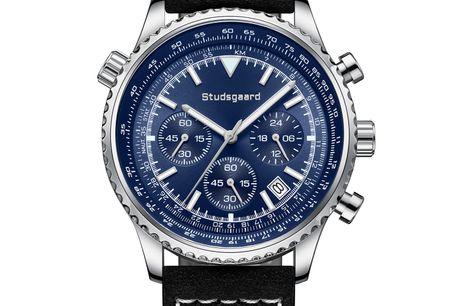 Studsgaard Aviator Black Leather Silver/Blue