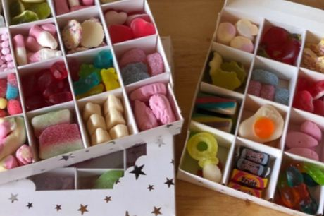 Handmade Pick-N-Mix Sweet Box     Includes Haribo, fudge, jellies, sours, chocolate and marshmallow     As well as retro favourites like blackjacks, fruit salads and more     Comes in a cute white box with stars that you can reuse     Ideal as a gift