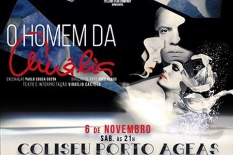 """Coliseu do PORTO: Espetáculo """"O Homem da Amália"""" com Virgílio Castelo por 15€. História de amor profundo, estranho e secreto por Amália Rodrigues."""