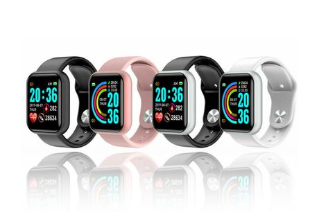 £17.99 instead of £99 for a smart watch fitness tracker in white, pink, black or black and silver from Just Gift Direct - save 91%