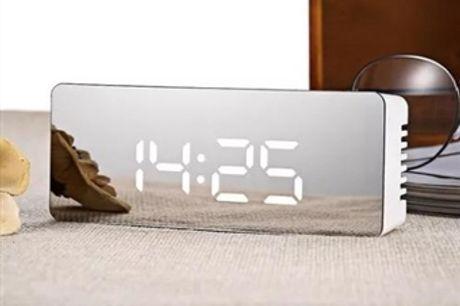 Despertador Digital com Relógio, Termómetro e Espelho desde 11€. PORTES INCLUÍDOS.