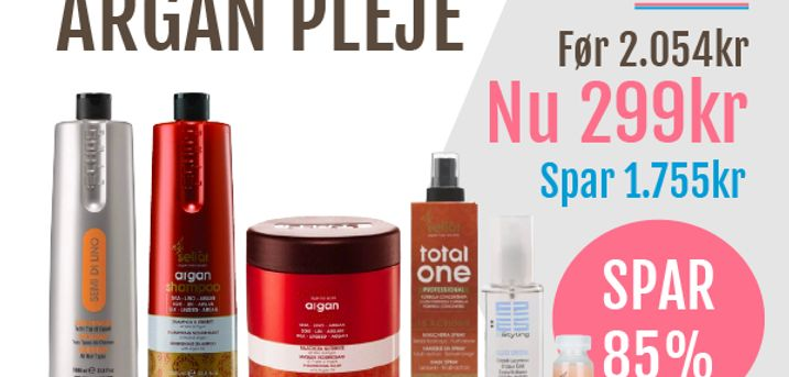 6 professionelle plejeprodukter til håret: Argan shampoo 1 l, Argan Mask 1 l, Semi Di Lino Conditioner 1 l, Leave-in-spray 200ml, Crystals olie 100 ml, Argan lotion