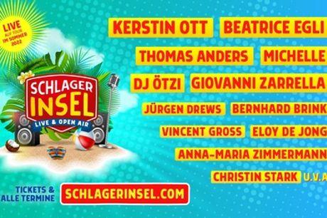 """Exklusives Festivalticket: """"Die Schlagerinsel"""" - Das Sommer Open-Air 2022 Live auf Tour"""