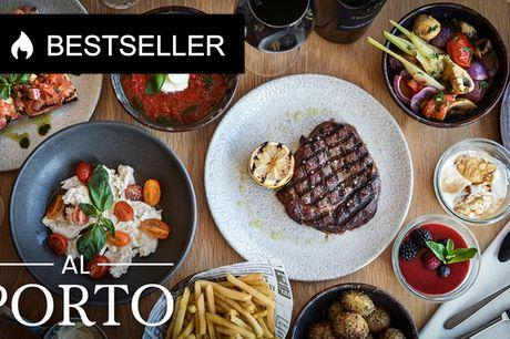Valgfri 3-retters hos Al Porto. Smag 250 g. af verdens bedste oksekød!